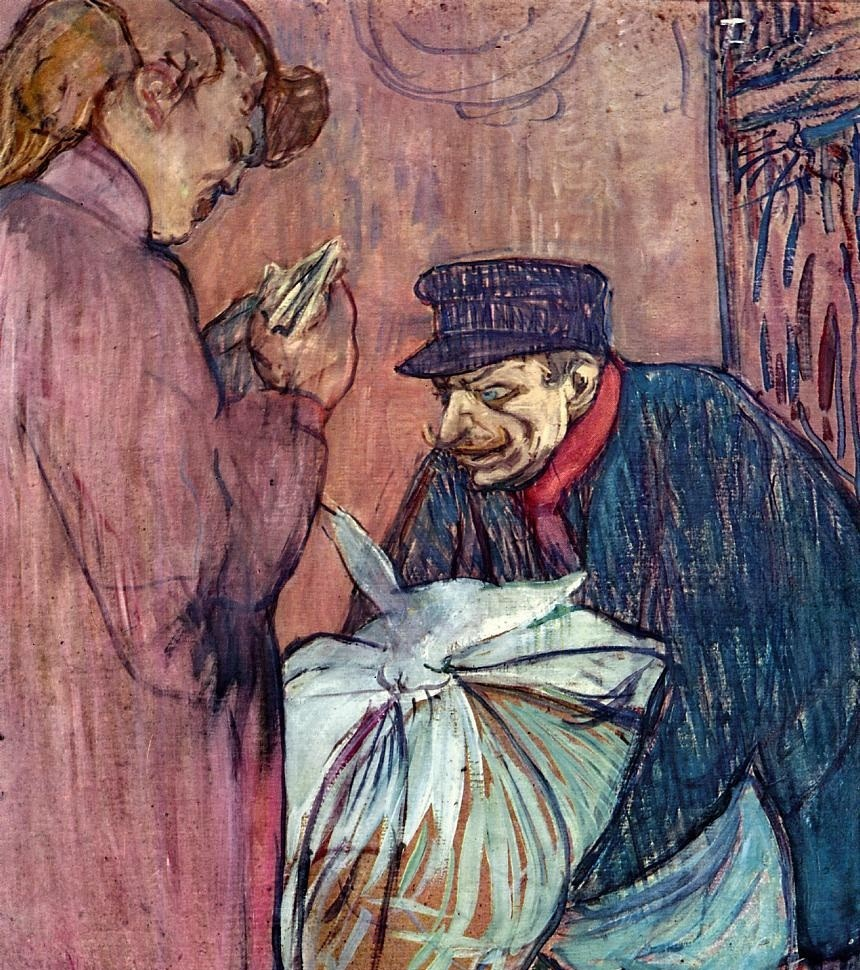 The Laundryman Calling At The Brothal by Henri de Toulouse-Lautrec