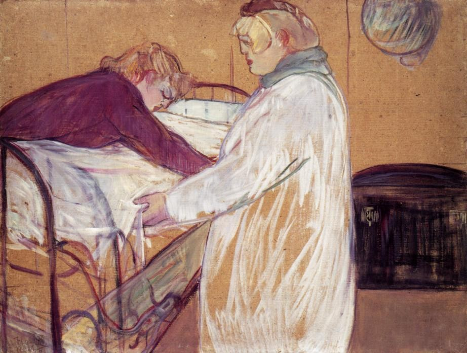 Two Women Making The Bed by Henri de Toulouse-Lautrec