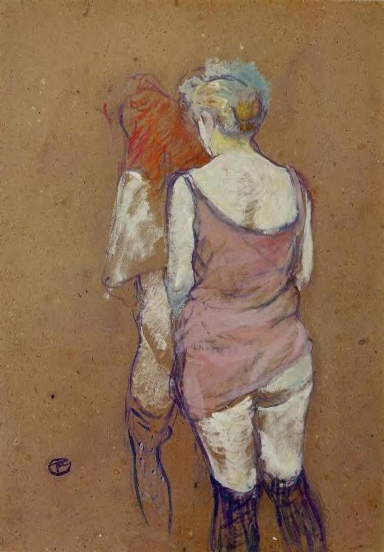 Two Half Naked Women Seen From Behind In The Rue Des Moulins Brothel by Henri de Toulouse-Lautrec