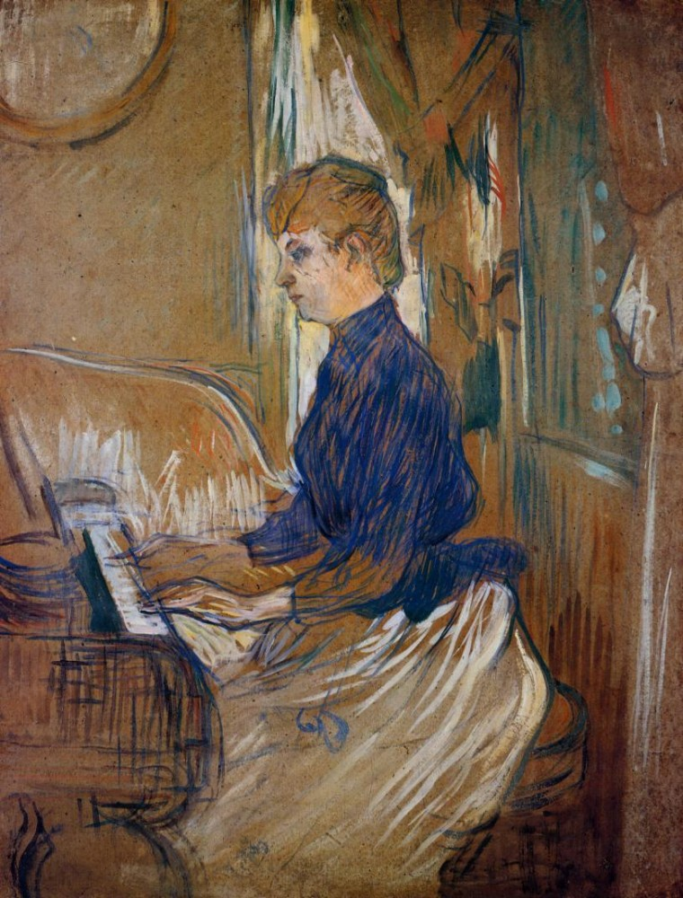 At The Piano Madame Juliette Pascal In The Salon Of The Chateau De Malrome by Henri de Toulouse-Lautrec