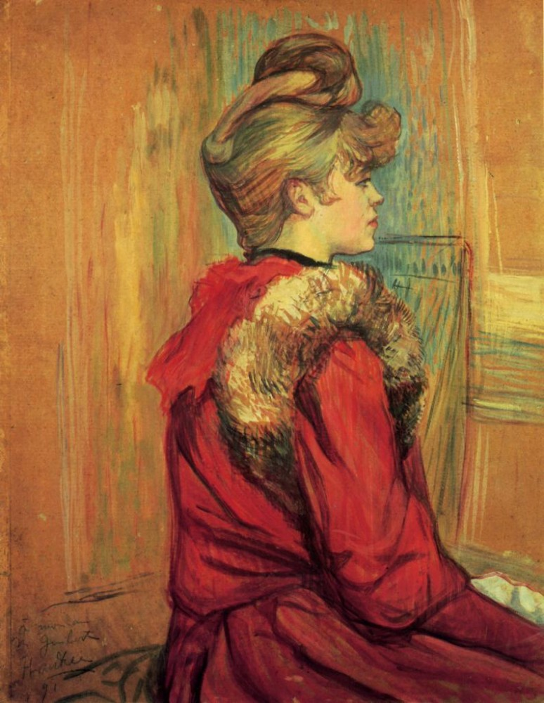 Girl In A Fur Mademoiselle Jeanne Fontaine by Henri de Toulouse-Lautrec