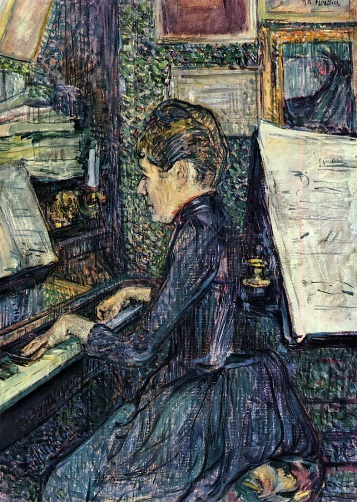 Mille Dihau Playing The Piano by Henri de Toulouse-Lautrec