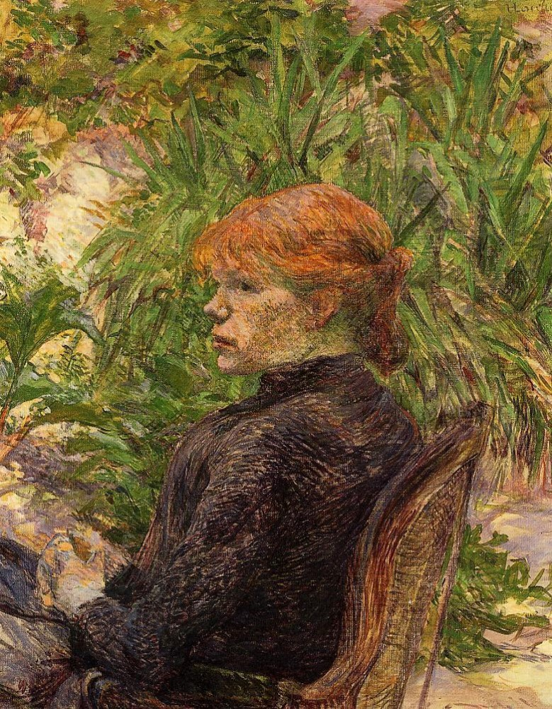 Red Haired Woman Seated In The Graden Of M Forest by Henri de Toulouse-Lautrec