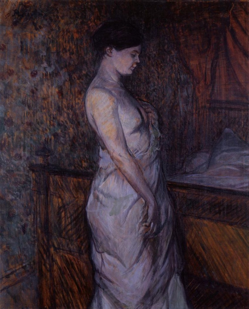 Woman In A Chemise Standing By A Bed by Henri de Toulouse-Lautrec