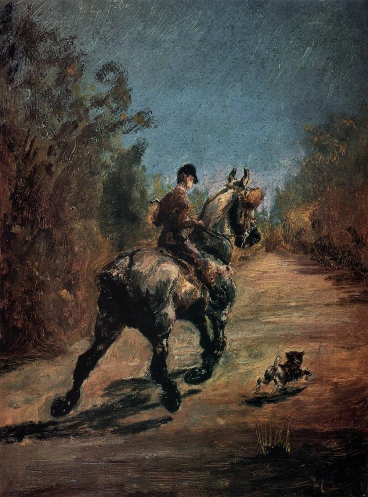 Horse And Rider With A Little Dog by Henri de Toulouse-Lautrec