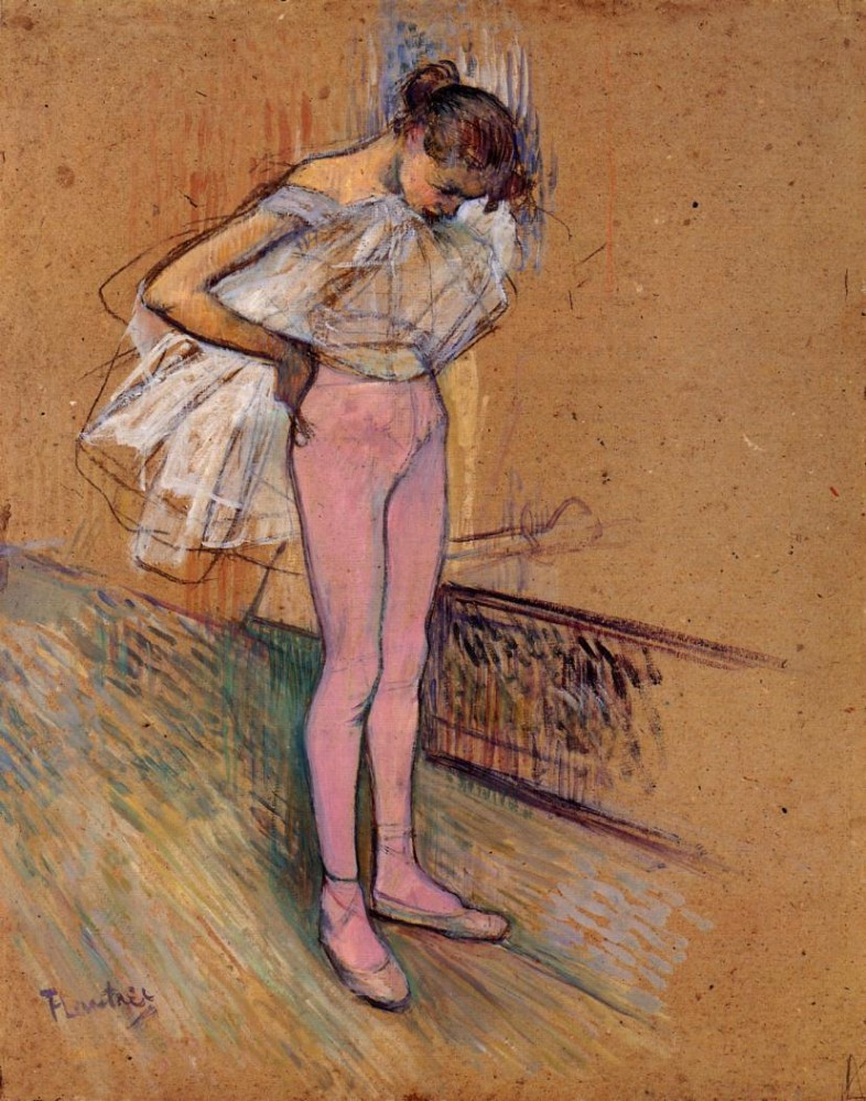 Dancer Adjusting Her Tights by Henri de Toulouse-Lautrec