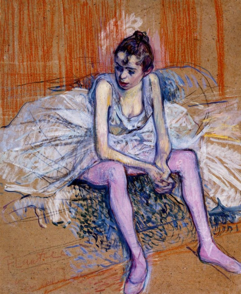 Seated Dancer In Pink Tights by Henri de Toulouse-Lautrec