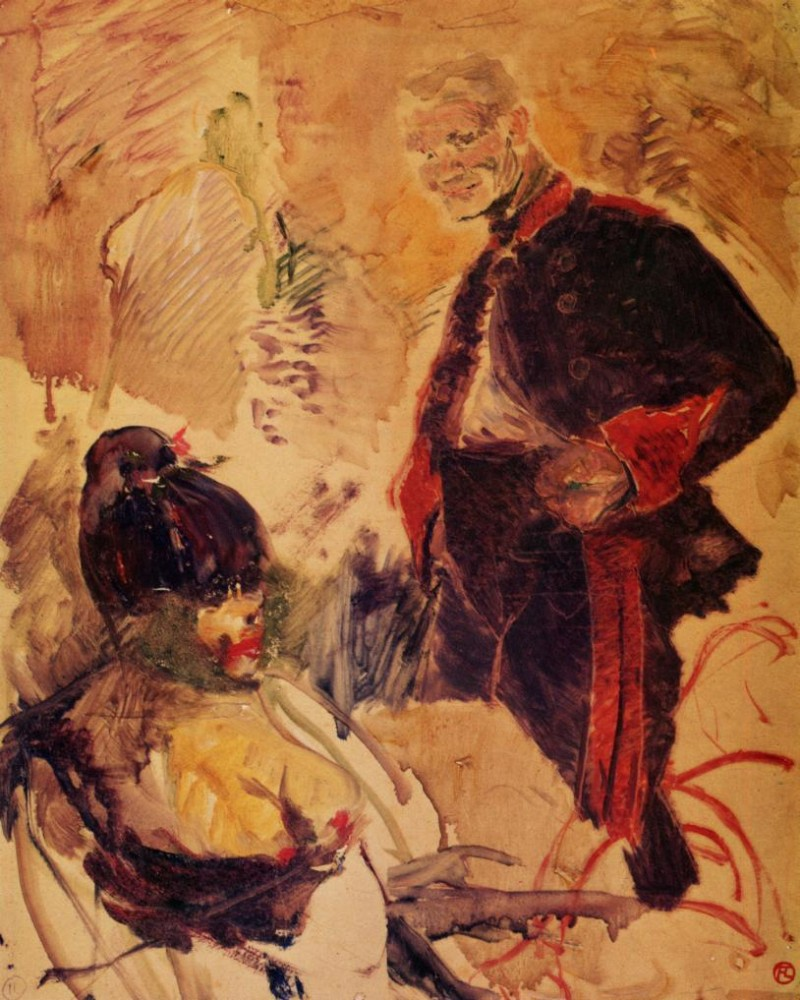 Artillerman And Girl by Henri de Toulouse-Lautrec