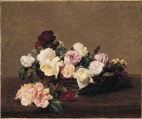 A Basket of Roses by Henri Fantin-Latour