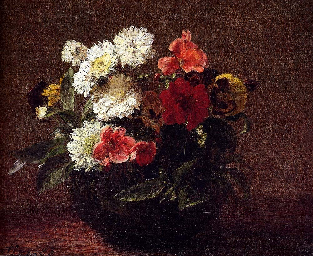 Flowers In A Clay Pot by Henri Fantin-Latour