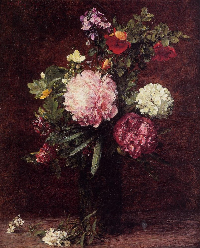 Flowers Large Bouquet with Three Peonies by Henri Fantin-Latour