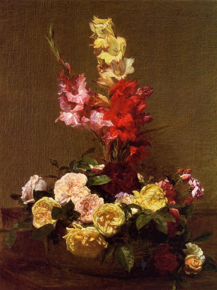 Gladiolas and Roses by Henri Fantin-Latour