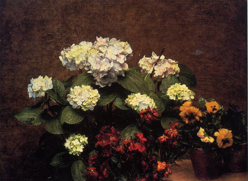 Hydrangias Cloves and Two Pots of Pansies by Henri Fantin-Latour