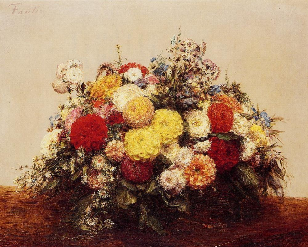Large Vase of Dahlias and Assorted Flowers by Henri Fantin-Latour