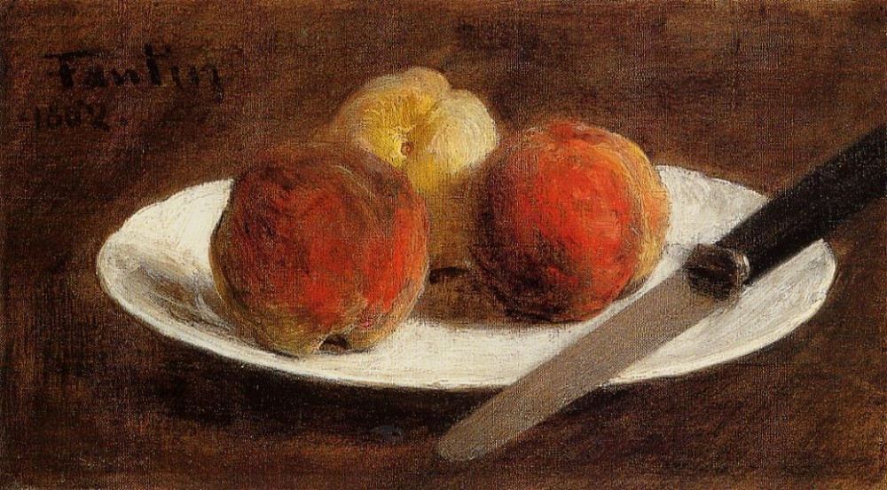 Plate of Peaches by Henri Fantin-Latour