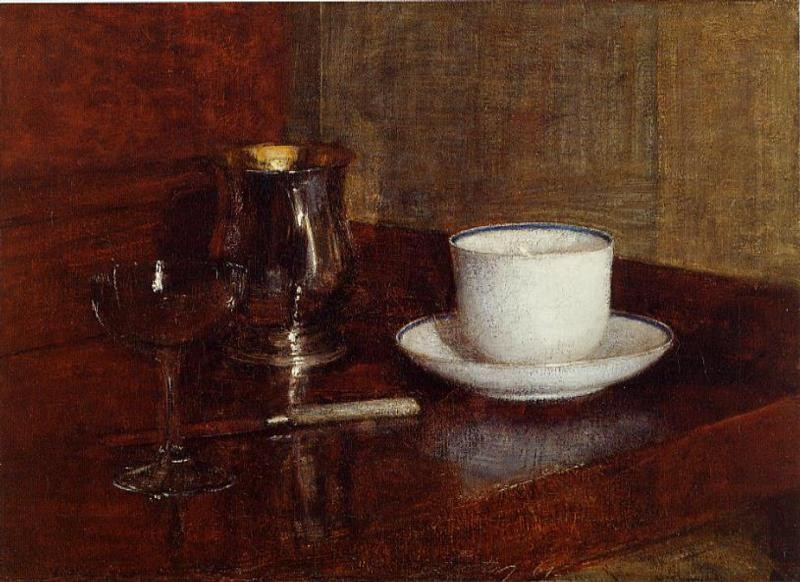 Still Life Glass Silver Goblet and Cup of Champagne by Henri Fantin-Latour