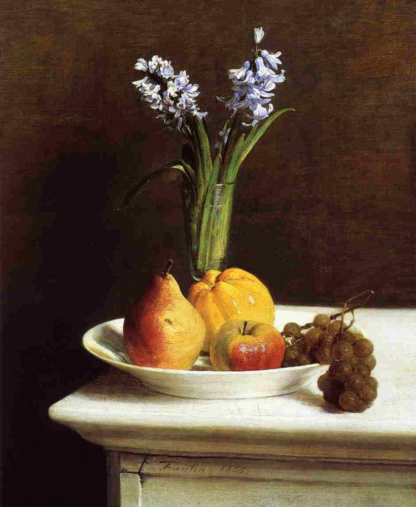 Still Life Hyacinths and Fruit by Henri Fantin-Latour