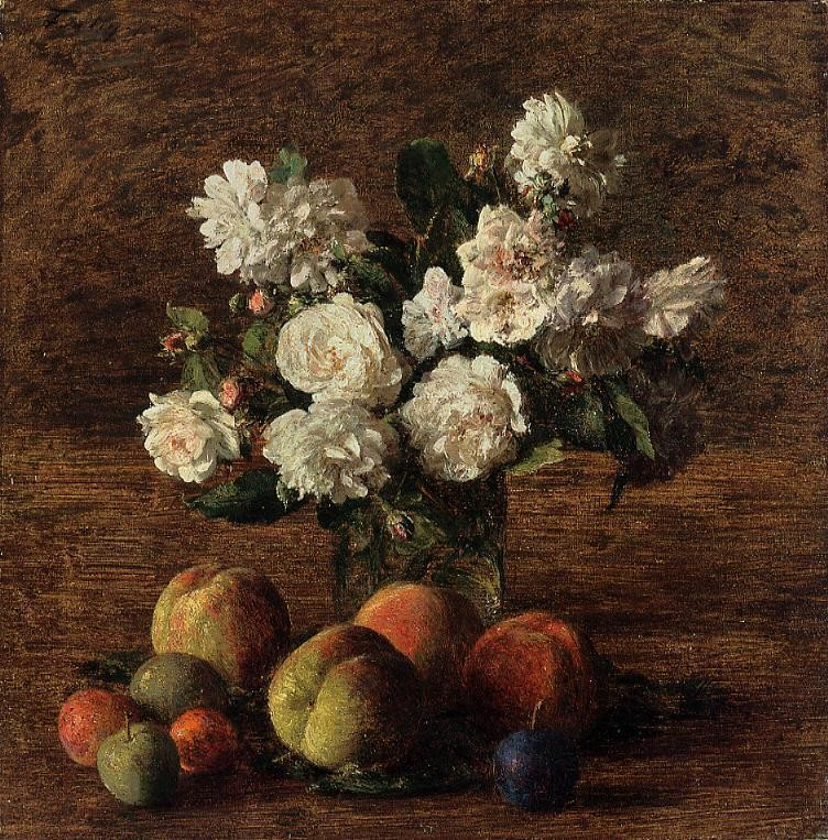 Still Life Roses and Fruit by Henri Fantin-Latour