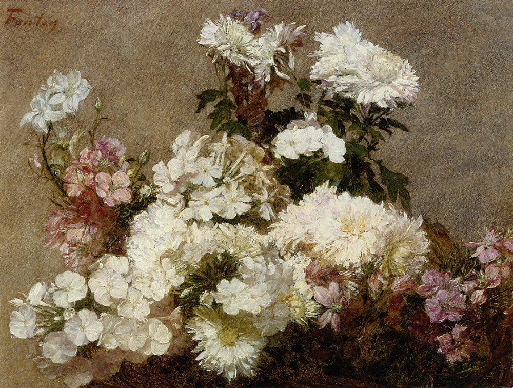 White Phlox Summer Chrysanthemum and Larkspur by Henri Fantin-Latour