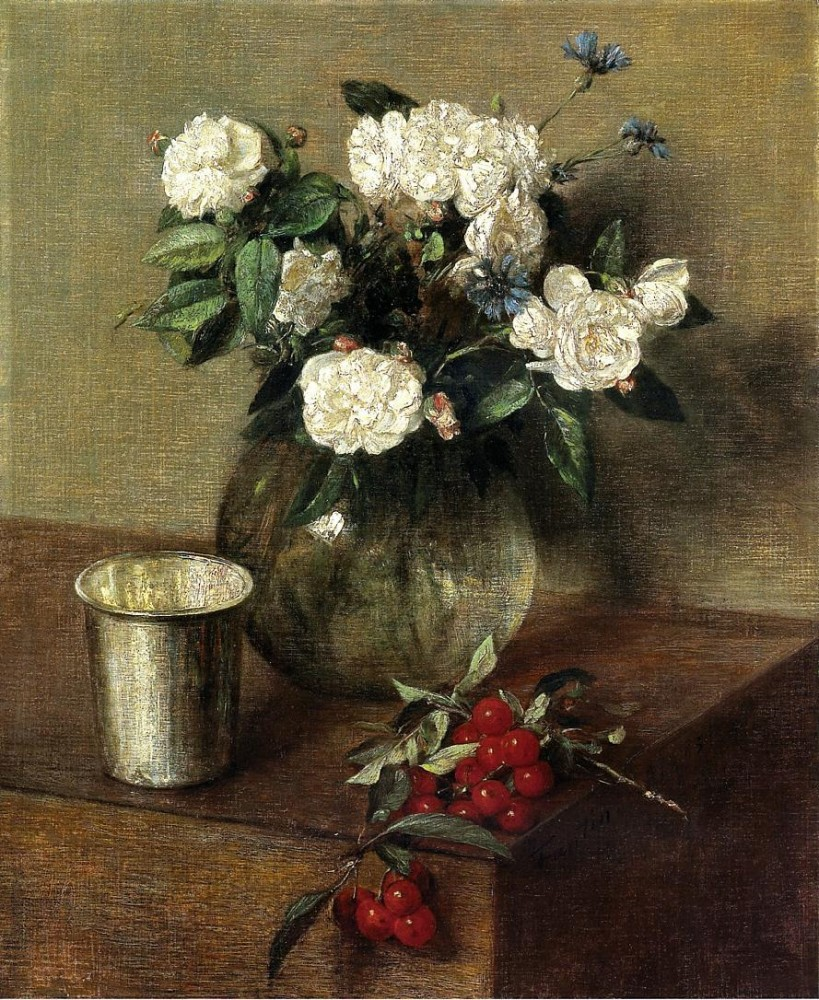 White Roses and Cherries by Henri Fantin-Latour
