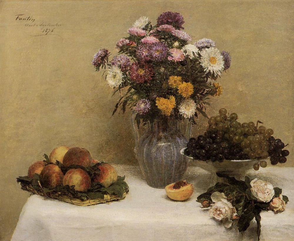 White Roses Chrysanthemums in a Vase Peaches and Grapes on a Table with a Whi by Henri Fantin-Latour