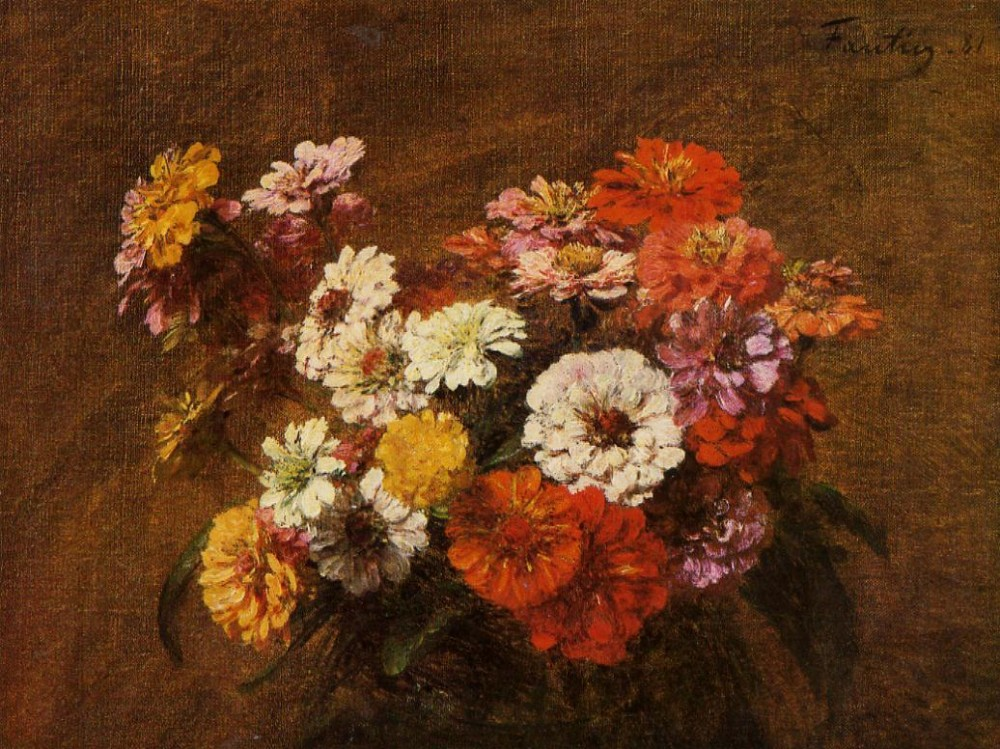 Zinnias in a Vase by Henri Fantin-Latour