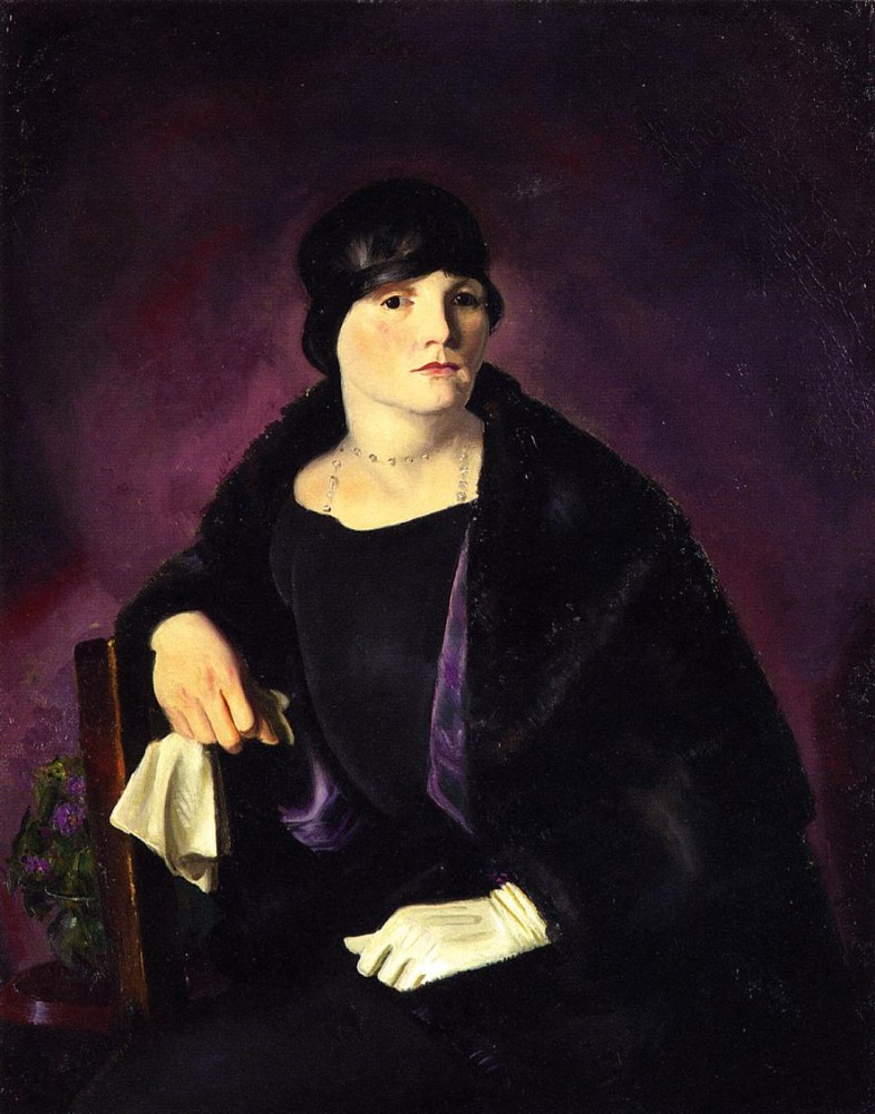 Mrs T In Wine Silk by George Wesley Bellows