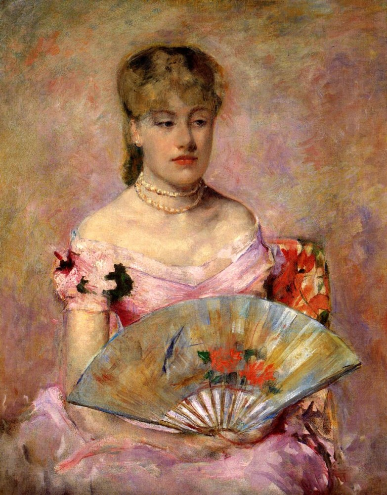 Lady with a Fan aka Portrait of Anne Charlotte Gaillard by Mary Stevenson Cassatt