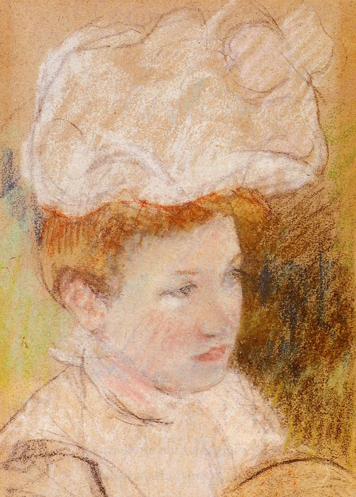 Leontine in a Pink Fluffy Hat by Mary Stevenson Cassatt