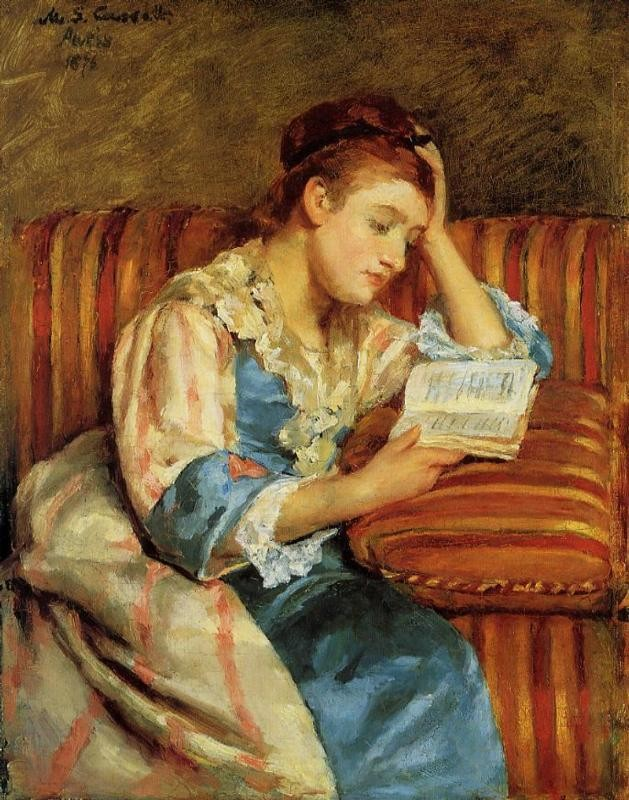 Mrs. Duffee Seated on a Striped Sofa Reading by Mary Stevenson Cassatt