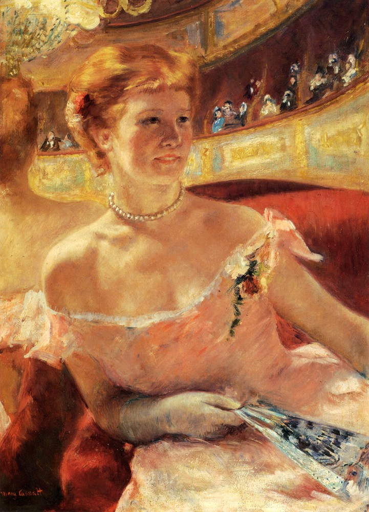 Woman With A Pearl Necklace In A Loge by Mary Stevenson Cassatt