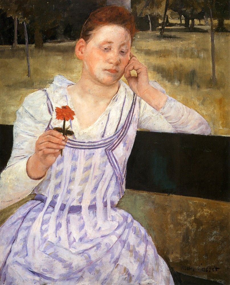 Woman With A Red Zinnia by Mary Stevenson Cassatt