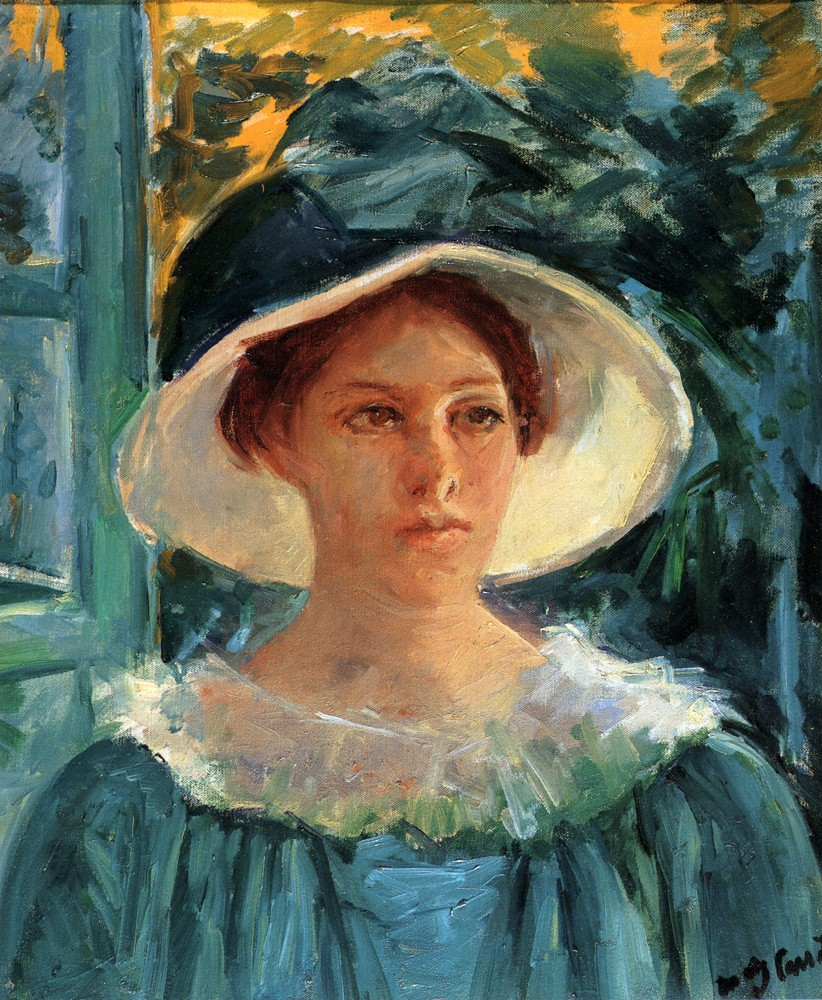 Young Woman In Green Outdoors In The Sun by Mary Stevenson Cassatt