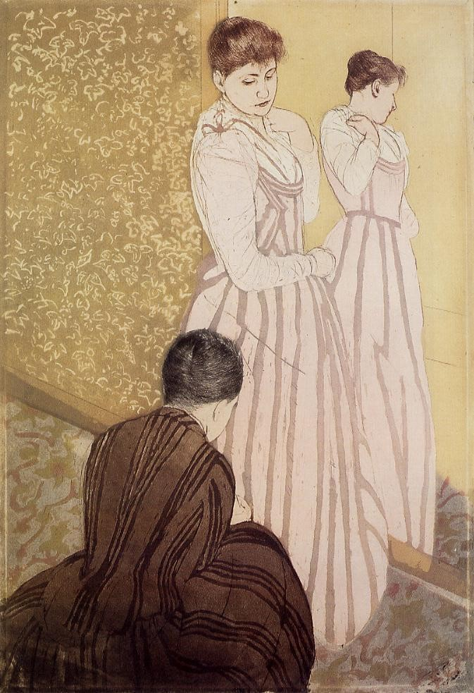 Young Woman Trying on a Dress by Mary Stevenson Cassatt