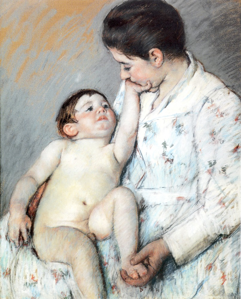 Baby-s First Caress by Mary Stevenson Cassatt