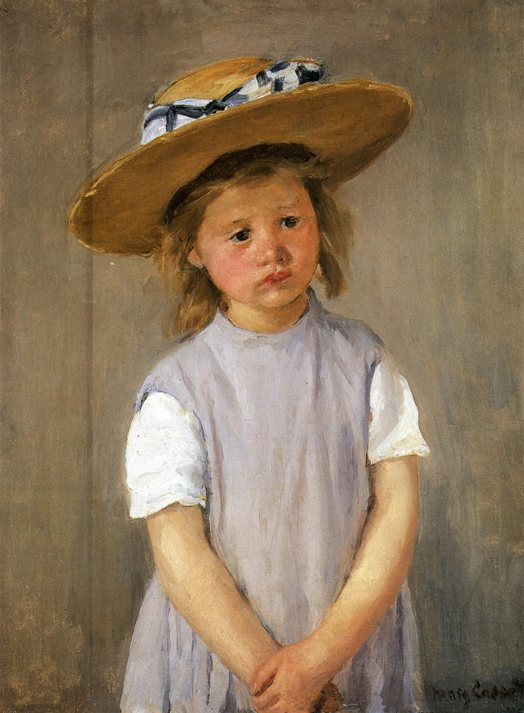 Child In A Straw Hat by Mary Stevenson Cassatt