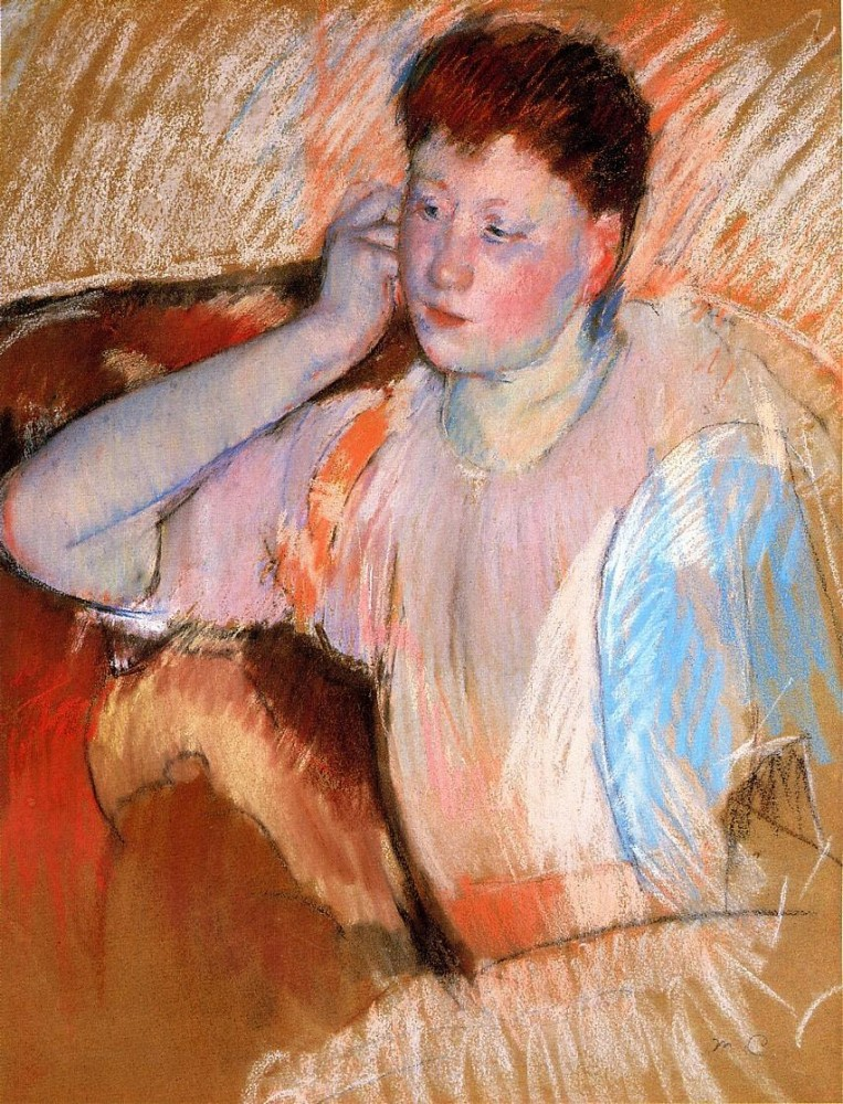 Clarissa Turned Left with Her Hand to Her Ear by Mary Stevenson Cassatt