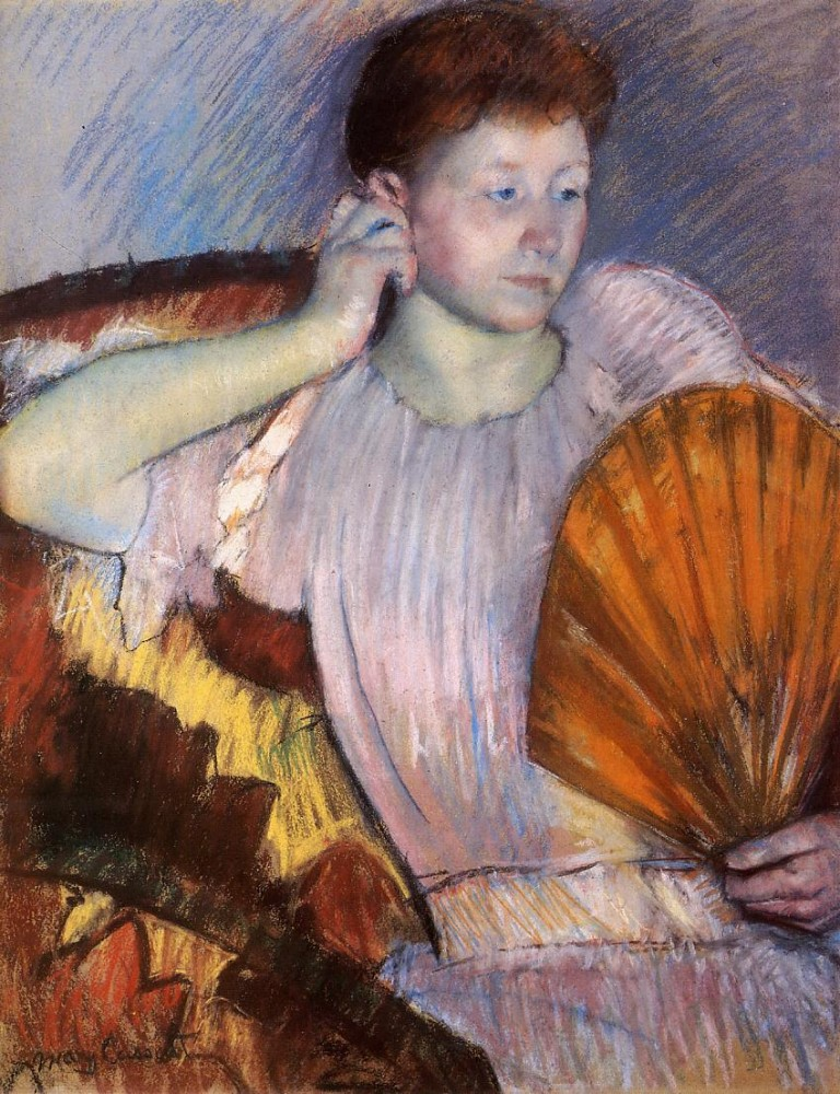 Contemplation aka Clarissa Turned Right with Her Hand to Her Ear by Mary Stevenson Cassatt