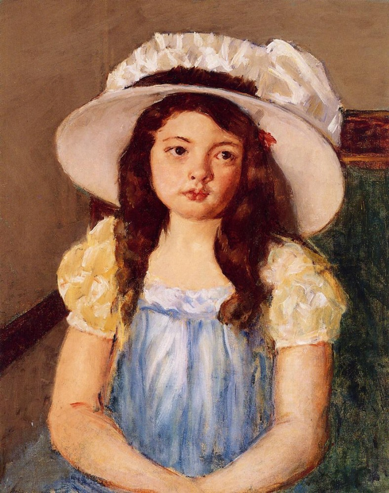 Francoise Wearing a Big White Hat by Mary Stevenson Cassatt