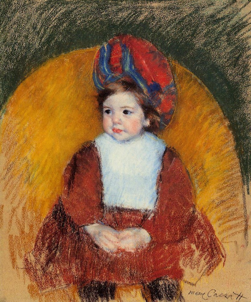 Margot in a Dark Red Costume Seated on a Round Backed Chair by Mary Stevenson Cassatt
