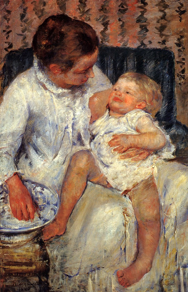 Mother About To Wash Her Sleepy Child by Mary Stevenson Cassatt