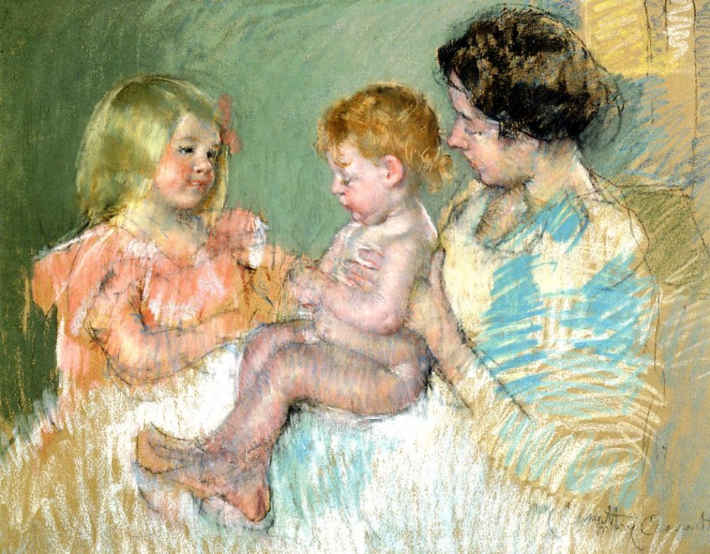 Sara and Her Mother with the Baby by Mary Stevenson Cassatt