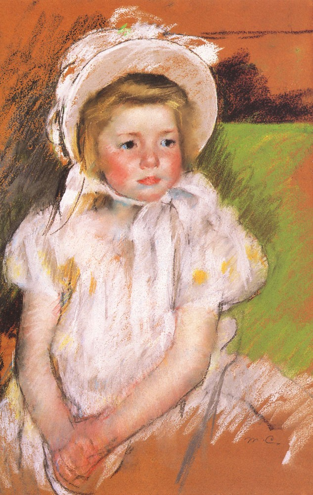 Simone in a White Bonnet by Mary Stevenson Cassatt