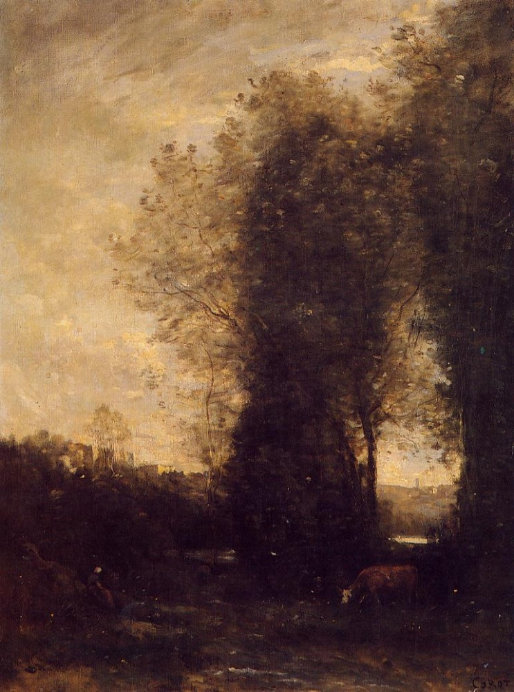 A Cow and its Keeper by Jean-Baptiste-Camille Corot