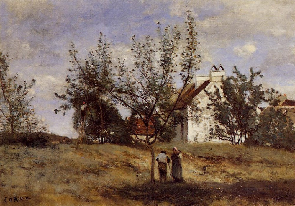 An Orchard at Harvest Time by Jean-Baptiste-Camille Corot