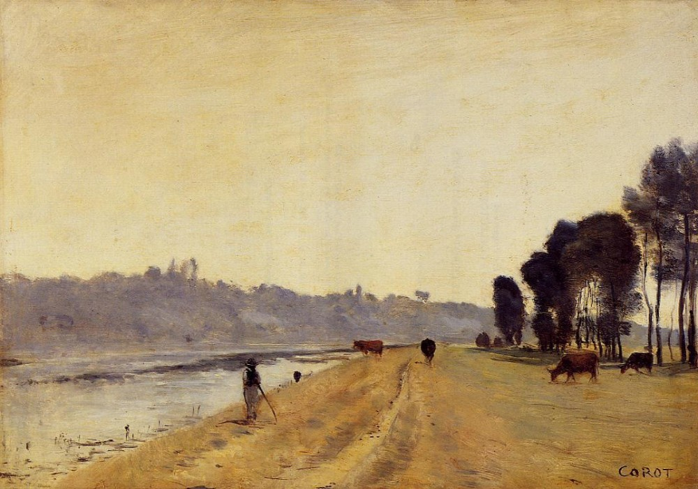 Banks of a River by Jean-Baptiste-Camille Corot