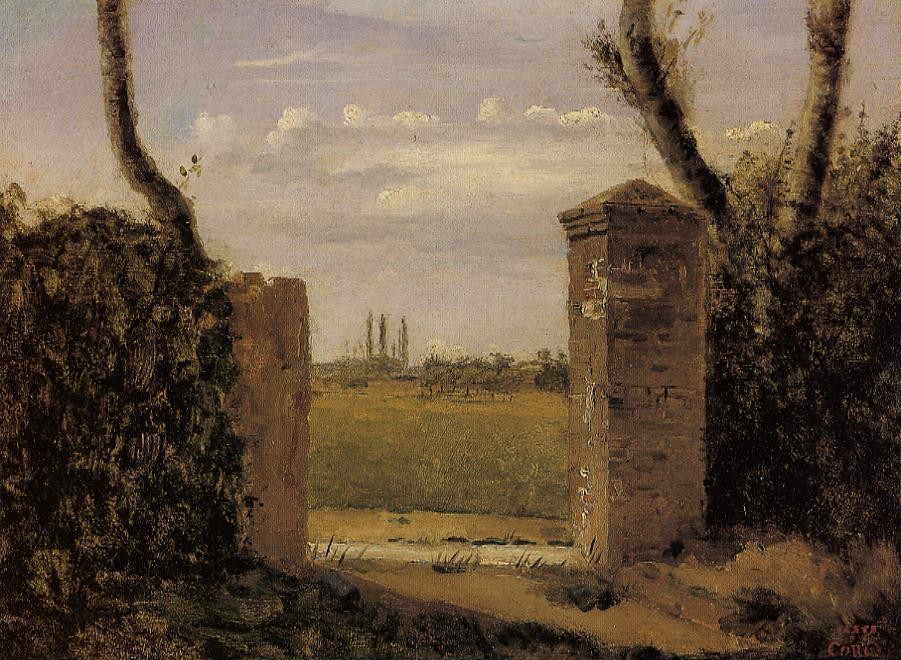 Boid Guillaumi near Rouen A Gate Flanked by Two Posts by Jean-Baptiste-Camille Corot