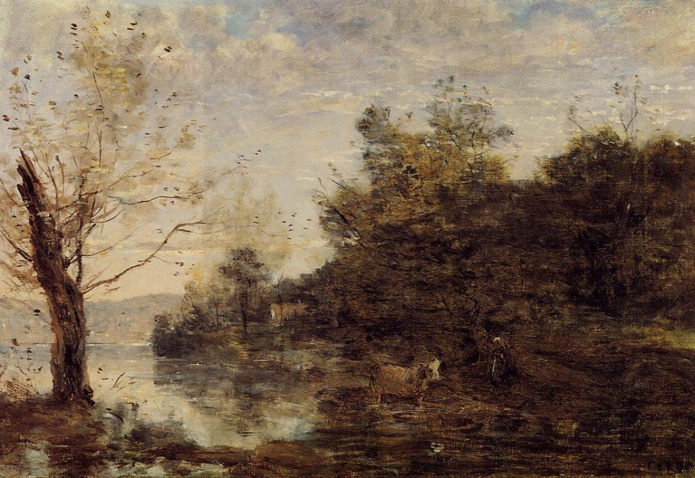 Cowherd by the Water by Jean-Baptiste-Camille Corot