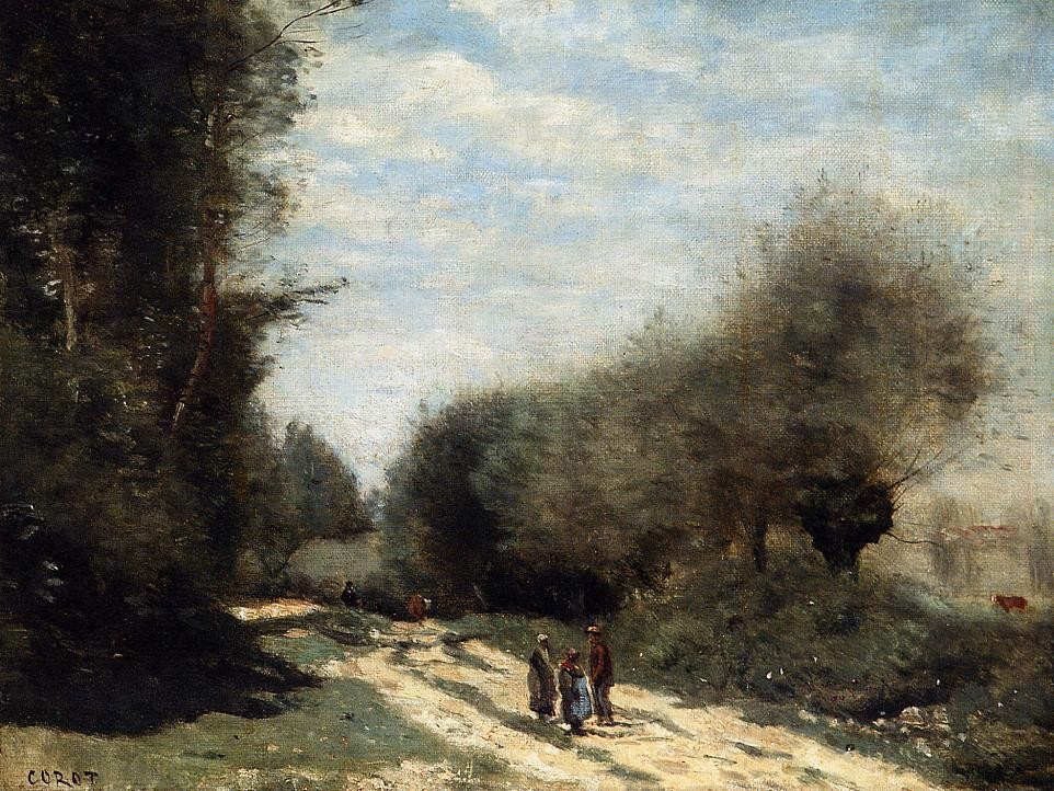 Crecy en Brie Road in the Country by Jean-Baptiste-Camille Corot