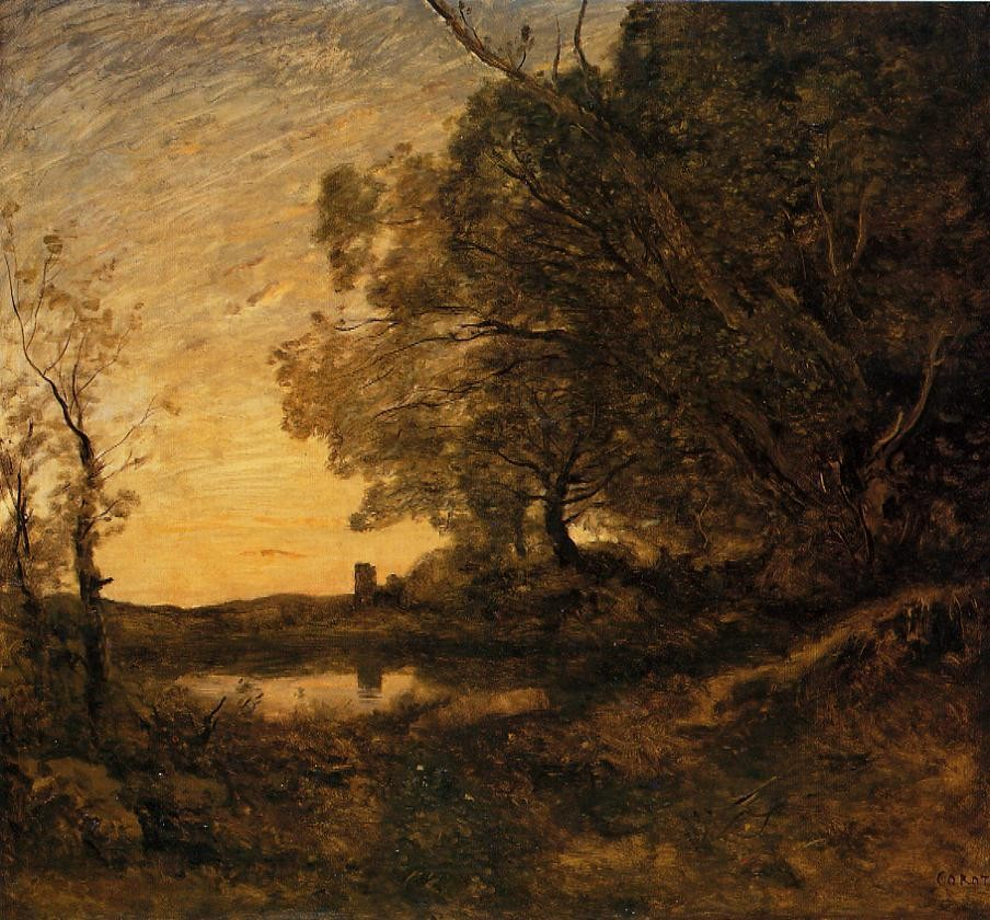 Evening Distant Tower by Jean-Baptiste-Camille Corot